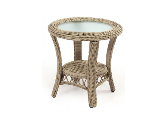 Baketweave Round Resin Wicker End Table  - DRIFTWOOD