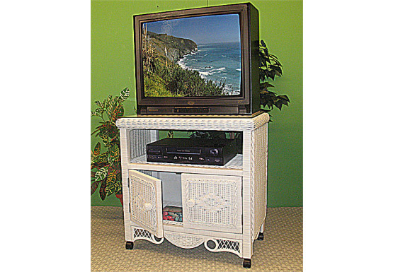 Victorian Wicker TV Stand w/Glass Top & Castors - Victorian Wicker TV Stand w/Glass Top & Castors