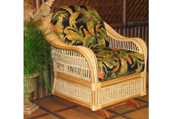Fiji  Rattan Framed Natural Wicker Glider Chair - CINNAMON
