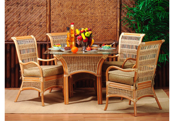 "5 Piece Fiji  Rattan Dining Set 42"" - CINNAMON"