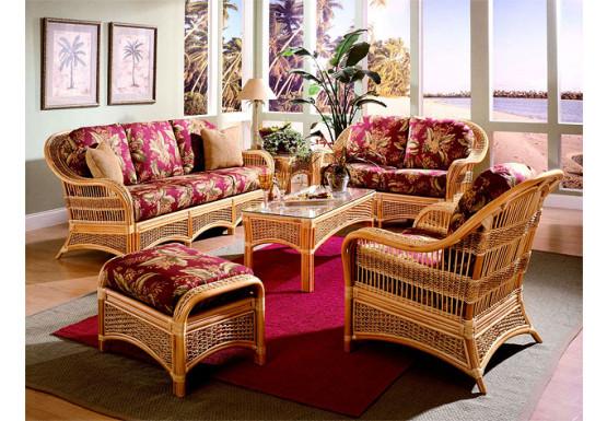 5 Piece Fiji Indoor Rattan Furniture, Wicker Indoor Furniture