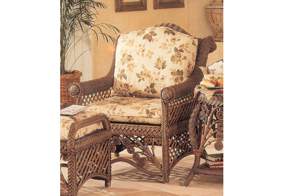 Victorian Natural Wicker Lounge Chair  - BROWN WASH
