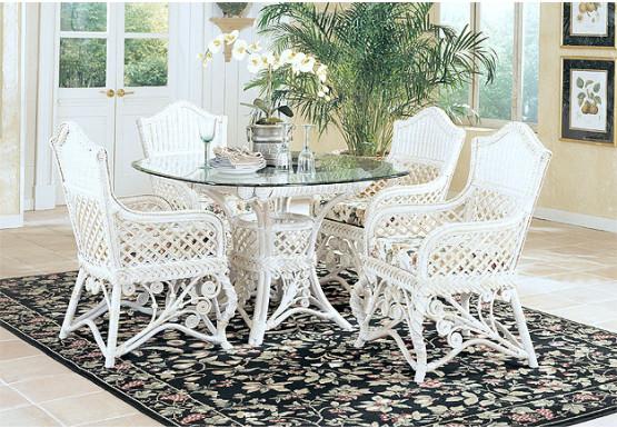 5 Piece Victorian Wicker Dining Set - WHITE