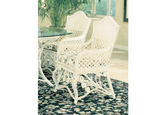 Victorian Wicker Dining Arm Chair  - WHITE