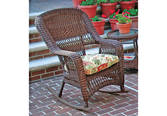 Belair Resin Wicker Rockers, Antique Brown - Belair Resin Wicker Rockers, Antique Brown