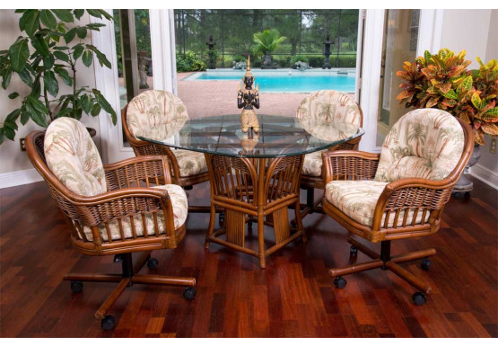 (5) Piece Manchester Rattan Dining Set with Casters - SIENNA