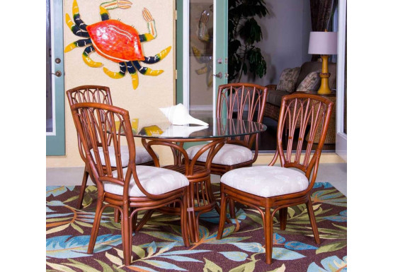 (5) Piece Trinidad Rattan Dining Set (2 finish choices) Arm & Side Chairs - 4-SIDE-SIENNA