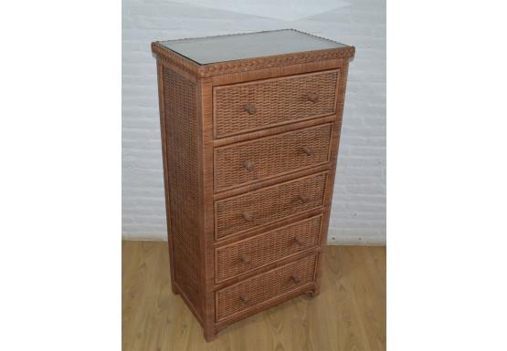 Augusta 5- Drawer Dresser with Glass Top (W + WW --Here 11/10/21 - TEA WASH