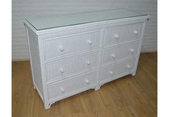 Augusta 6- Drawer Dresser with Glass Top ( W + WW Here 11/10/21 - WHITE