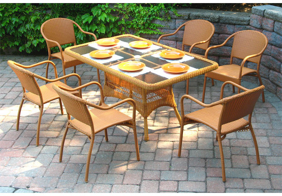 60 x 36 Rectangular Dining Set with 6-Bistro Chairs - GOLDEN HONEY