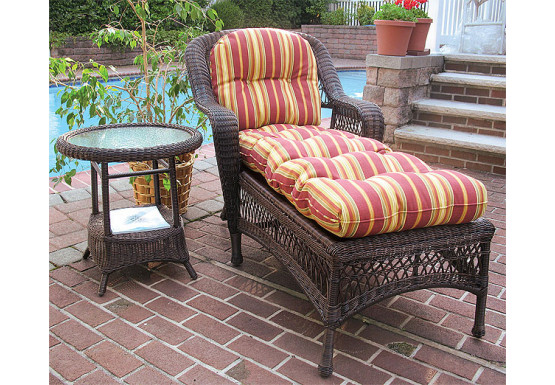 Belair Resin Wicker Chaise Lounge with Seat & Back Cushions, Antique Brown - Belair Resin Wicker Chaise Lounge with Seat & Back Cushions, Antique Brown
