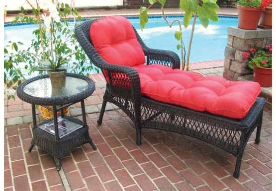 Belair Resin Wicker Chaise Lounge with Seat & Back Cushions, Black - Belair Resin Wicker Chaise Lounge with Seat & Back Cushions, Black