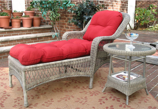 Belair Resin Wicker Chaise Lounge with Seat & Back Cushions, Driftwood - Belair Resin Wicker Chaise Lounge with Seat & Back Cushions, Driftwood