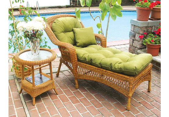 Belair Resin Wicker Chaise Lounge with Seat & Back Cushions, Golden Honey - Belair Resin Wicker Chaise Lounge with Seat & Back Cushions, Golden Honey