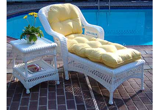 Belair Resin Wicker Chaise Lounge with Seat & Back Cushions, White - Belair Resin Wicker Chaise Lounge with Seat & Back Cushions, White