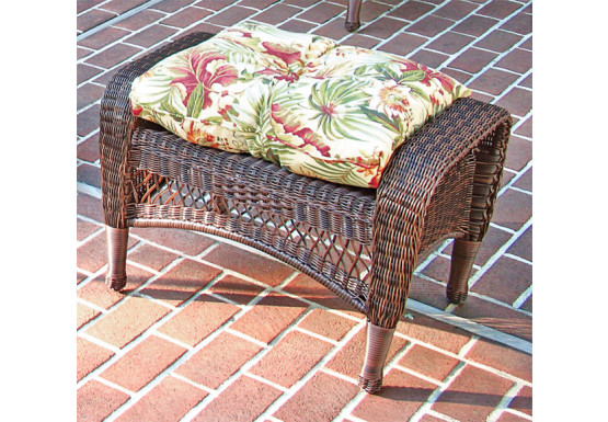 Bel Aire Resin Wicker Ottoman  - ANTIQUE BROWN