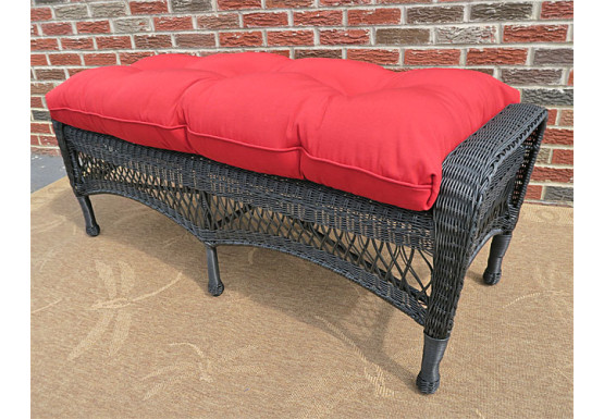Resin Wicker Bench with Cushion - BLACK