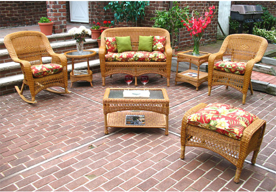 4 Piece Belair Resin Wicker Furniture Set (1) Love Seat  (2) Chairs (1) Coffee Table - GOLDEN HONEY