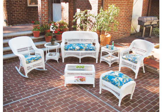 7 Piece Belair Resin Wicker Furniture Set as Shown - WHITE
