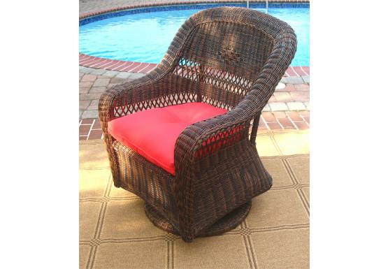 Belair Resin Wicker Swivel Glider Chairs, Antique Brown - Belair Resin Wicker Swivel Glider Chairs, Antique Brown