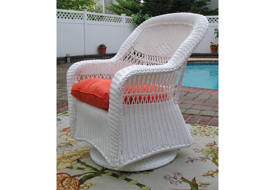 Belair Resin Wicker Swivel Glider Chairs, White - Belair Resin Wicker Swivel Glider Chairs, White