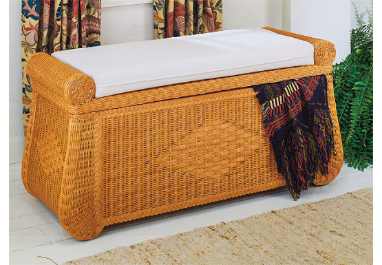 Wicker Trunks, Blanket Chest with Seating (Cushion separate purchase-below) Caramel - Wicker Trunks, Blanket Chest with Seating (Cushion separate purchase-below) Caramel