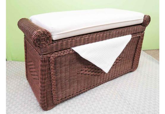 Wicker Trunks, Blanket Chest with Seating (Cushion separate purchase-below) Tea Wash - Wicker Trunks, Blanket Chest with Seating (Cushion separate purchase-below) Tea Wash