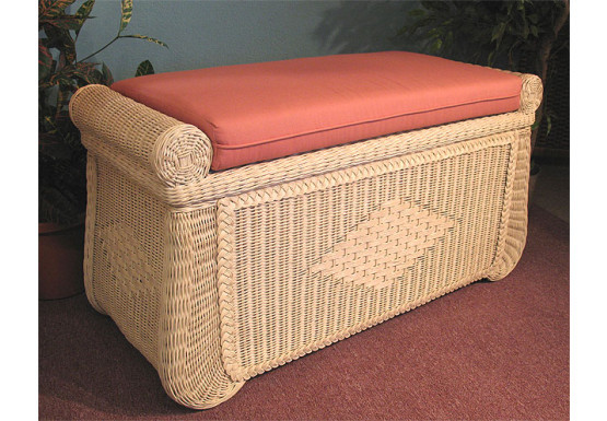 Wicker Trunks, Blanket Chest with Seating (Cushion separate purchase-below) White Wash - Wicker Trunks, Blanket Chest with Seating (Cushion separate purchase-below) White Wash