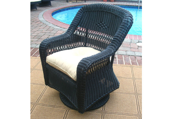Belair Resin Wicker Swivel Glider Chairs, Black - Belair Resin Wicker Swivel Glider Chairs, Black