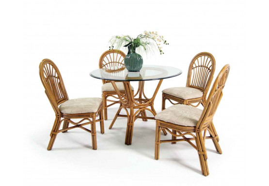 """Antigua Rattan 42"""" Dining Set with 4 Side Chairs - ROYAL OAK"""