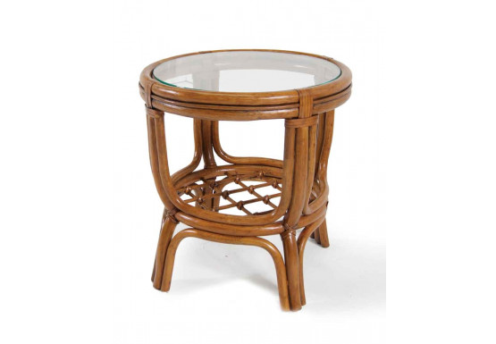 Delta Round Side Table with Glass Top - Delta Round Side Table with Glass Top