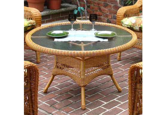 "42"" Round  X 24"" High Resin Wicker Conversation Table with umbrella hole - GOLDEN HONEY"