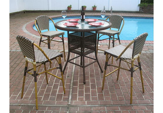 Prime Resin Wicker High Dining Set With Cafe Style Bar Stools Cjindustries Chair Design For Home Cjindustriesco