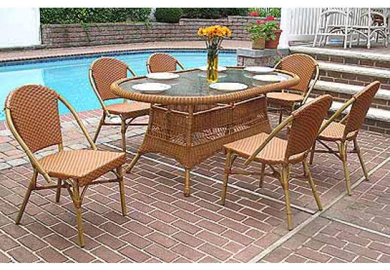 7 Piece 72 Oval Cafe Dining Set With, Outdoor Patio Dining Table With Umbrella Hole