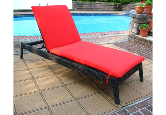 Caribbean Resin Wicker Chaise, Adjustable Back & Cushion - BLACK