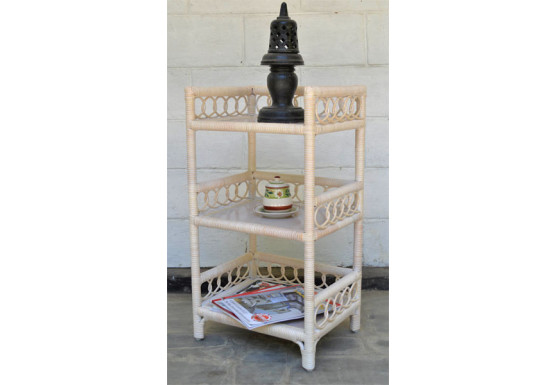 Circle Design Wicker Floor Shelf, White Wash - Circle Design Wicker Floor Shelf, White Wash