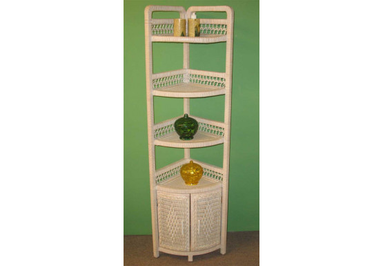 Corner Wicker Bath Cabinet, White Wash - Corner Wicker Bath Cabinet, White Wash