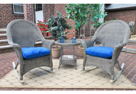 3 Piece Veranda Resin Wicker Chat Set with Rockers - DRIFTWOOD