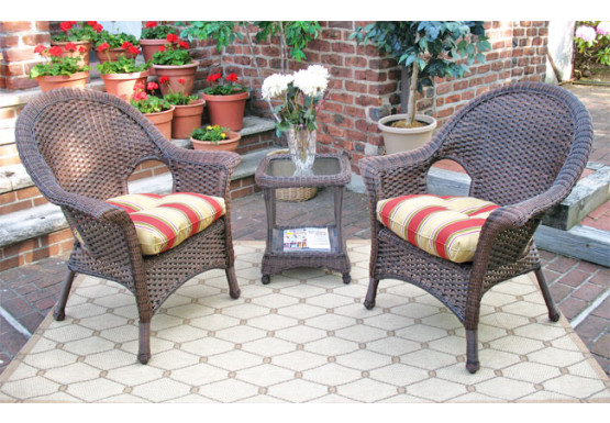 3 Piece Veranda High Back Chat Set (Square Table)  - ANTIQUE BROWN