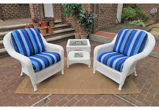 3 Piece Laguna Beach Resin Wicker Chat Set  - WHITE