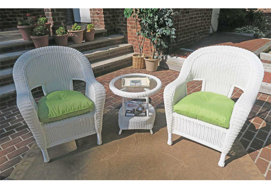 3 Piece Malibu Resin Wicker Chat Set with Round End Table - WHITE