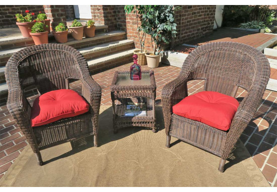 3 Piece Malibu Resin Wicker Chat Set with Square Table - ANTIQUE BROWN