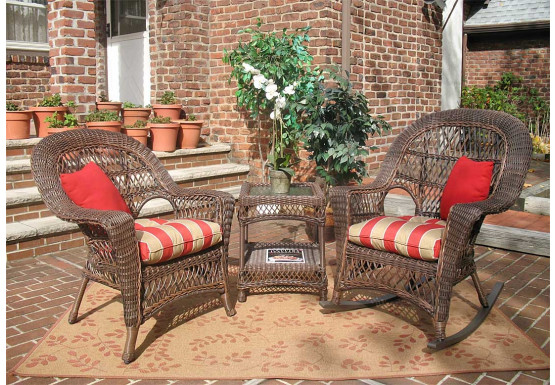 3 Piece Madrid Resin Wicker Chat Set (1) Chair (1) Rocker - RUSTIC BROWN