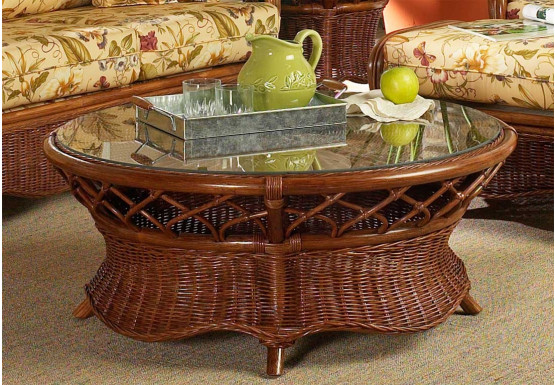 East Wind Round Rattan Cocktail Table (Custom Finishes) - East Wind Round Rattan Cocktail Table (Custom Finishes)