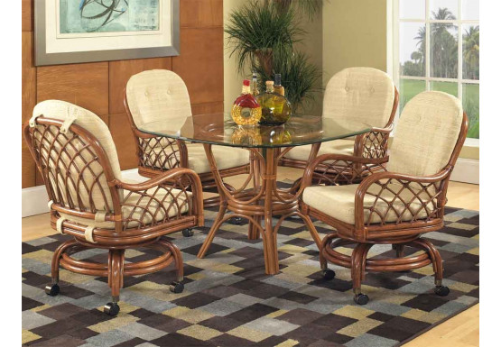 "Grand Isle Rattan Dining Set 42"" Round(48"" also avail) - Pecan"