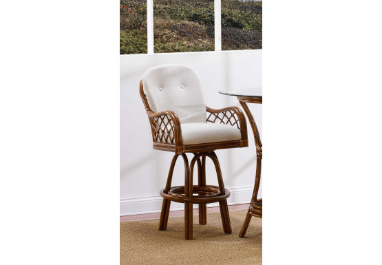 Astounding Grand Isle Rattan Swivel Bar Stool With Seat Back Cushions Theyellowbook Wood Chair Design Ideas Theyellowbookinfo