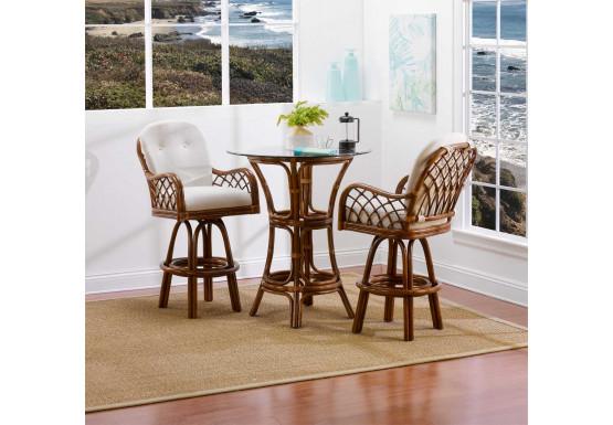 "Grand Isle Rattan Bar Height Cafe Set 36"" Round Glass - Grand Isle Rattan Bar Height Cafe Set 36"" Round Glass"