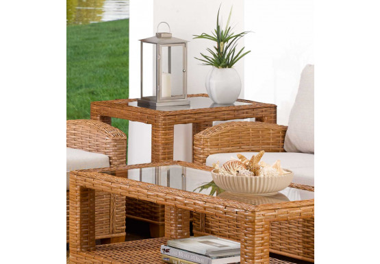 Millennial Rectangular Rattan End Table (Custom Finishes) - Millennial Rectangular Rattan End Table (Custom Finishes)