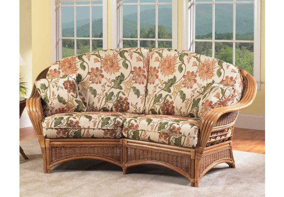 Mountain View Natural Rattan Crescent Loveseat - Mountain View Natural Rattan Crescent Loveseat