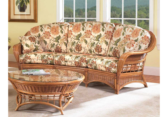 Mountain View Natural Rattan Crescent Sofa (Custom Finishes Available) - Mountain View Natural Rattan Crescent Sofa (Custom Finishes Available)